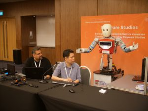 The NTU EDGAR Robot showcased at SDC 2018 with Playware