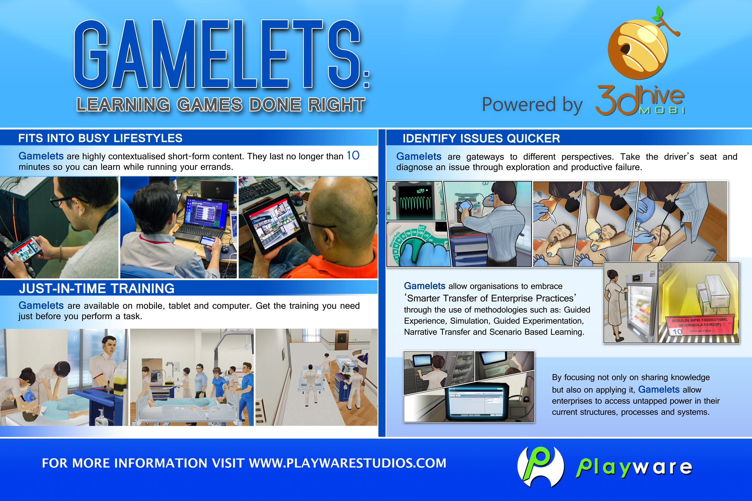 Gamelets for corporate training